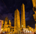 Ancient towers and church in bologna italy Royalty Free Stock Photo