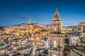 Ancient town of Matera at dusk, Basilicata, Italy Royalty Free Stock Photo