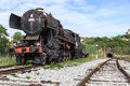 Ancient train with a steam locomotive on rails in stanjel slovenia Royalty Free Stock Image