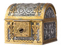 Ancient treasure chest isolated on white golden a background with clipping path Royalty Free Stock Image