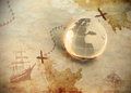 Ancient treasure map with glass globe Royalty Free Stock Photo