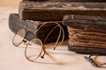 Ancient Treatise with very old glasses Royalty Free Stock Photo