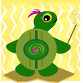 Ancient turtle with smudge stick this cleanses the room Stock Image