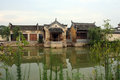 An ancient village in anhui province china surrounded by pond Stock Photography