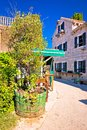 Ancient village of Sukosan near Zadar street vertical view Royalty Free Stock Photo