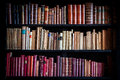 Ancient vintage library knowledge. Shelves of historical books. Royalty Free Stock Photo