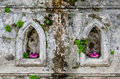 Ancient wall decorated with beeswax lotus in thailand Stock Photography