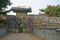 The ancient walls of Suwon city,South Korea Royalty Free Stock Photo