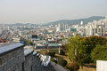 The ancient walls of suwon city south korea overlooking centre Stock Photos