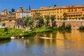 Ancient waterwheel alcazar guadalquivir river cordoba spain yellow reflection Stock Photography