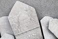 Ancient white headstone with arabic pattern carvings smyrna izmir turkey Royalty Free Stock Photography