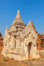Ancient white small pagoda in bagan with beautiful stucco details burma myanmar Stock Image