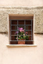 Ancient window with iron grating and flowers a detailed view of an very well restored from erice sicily portrait cut Stock Photo