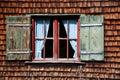 Ancient Window On Log House Wo...