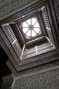 Ancient wood carved roof skylight window Royalty Free Stock Photo