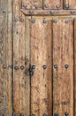 Ancient wooden door at castile spain Royalty Free Stock Images