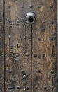 Ancient wooden door at cuenca spain Stock Photos