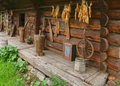 Ancient wooden house from Ukraine Stock Photo