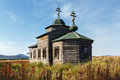 Ancient wooden orthodox church of the assumption russian federation kamchatka peninsula russia september view on dormition is Royalty Free Stock Photo
