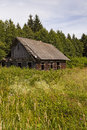 Ancient wooden thrown house located rural areas belarus Stock Photo