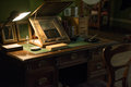 Ancient working desk with lamp Royalty Free Stock Photo