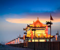 Ancient xi an in nightfall beautiful tower on city wall at xian china Stock Images