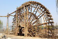 Ancient the yellow river water tankers lanzhou wooden structure china shore of Stock Photo