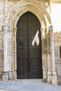 Anciente door, majestic facade of the cathedral of Toledo in Spa Royalty Free Stock Photo