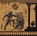 Anciet greek myth.Black figure pottery.Hercules heroic deed. Royalty Free Stock Photo