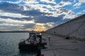 Ancona, marche, italy  port sunset Royalty Free Stock Photo