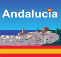 Andalucia with flag background landscape of spain and spanish Royalty Free Stock Images
