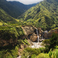 Andean mountain range tungurahua province ecuador landscape with waterfall near banios de agua santa Stock Photo