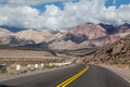 Andes argentina a road and the landscape of the mountains Royalty Free Stock Photos