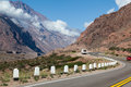 Andes argentina a road and the landscape of the mountains Stock Photos