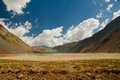 The andes cajon del maipo y embalse el yeso reservoir chile Royalty Free Stock Photo