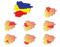 Andorra provinces maps a set of icons Royalty Free Stock Photography