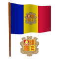 Andorra wavy flag and coat of arms against white background art illustration image contains transparency Stock Photos