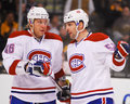 Andre kostitsyn and mathieu darche montreal canadiens darch discuss face off strategy Royalty Free Stock Photo