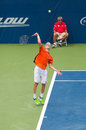 Andreas seppi plays center court at the winston salem open Royalty Free Stock Image