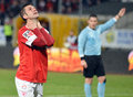 Andrei cristea football player reaction of dinamo bucharest reacts after a miss during a game Stock Photography