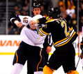 Andrew Ference Boston Bruins punches David Backes Royalty Free Stock Photos