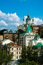 Andriyivskyy descent saint andrew s church at the top of the in kyiv ukraine Stock Images