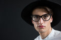 Androgynous man in spectacles Royalty Free Stock Photo