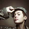 Androgynous soldier an attractive female with a touch of androgyny Royalty Free Stock Image
