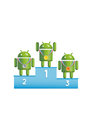 Android robots podium winners three green standing on with medals gold bronze and silver Royalty Free Stock Photo