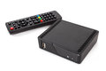Android tv set top box receiver with remote controler isolated on white Stock Photo
