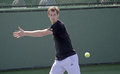 Andy murray prepares to strike ball practice session upcoming tournament Royalty Free Stock Image