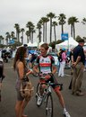 Andy schleck tour of california from radioshack leopard team at the amgen on his bike talking to a friend at the starting line in Royalty Free Stock Images