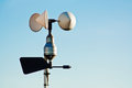 Anemometer on weather station measuring wind speed for climate change trends and forecasting Stock Image