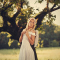 Angel attractive blonde dressed as an Royalty Free Stock Image